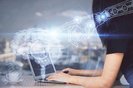 Foto de Multi exposure of woman hands working on computer and human brain hologram drawing. Ai tech concept. - Imagen libre de derechos