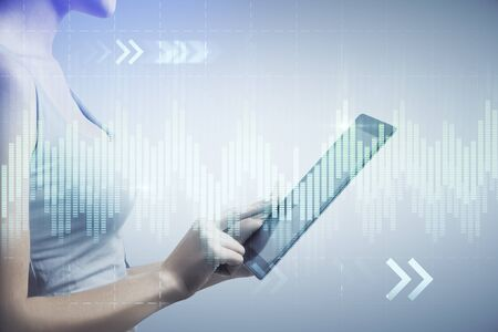 Photo for Double exposure of forex chart sketch hologram and woman holding and using a mobile device. Stock market concept. - Royalty Free Image