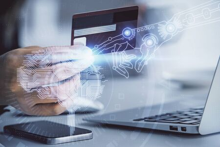 Photo pour Double exposure of woman on-line shopping holding a credit card and brain hologram drawing. Data E-commerce concept. - image libre de droit