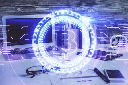 Photo for Double exposure of blockchain and crypto economy theme hologram and table with computer background. Concept of bitcoin cryptocurrency. - Royalty Free Image