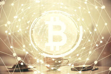 Foto de Double exposure of crypto currency theme drawing hologram over coffee cup background in office. Concept of international blockchain. - Imagen libre de derechos