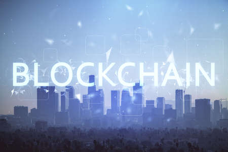 Photo for Double exposure of crypto currency theme hologram drawing and city veiw background. Concept of blockchain and bitcoin. - Royalty Free Image