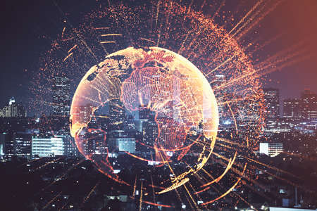Photo pour Multi exposure of social network theme drawing and cityscape background. Concept of people connecton. - image libre de droit