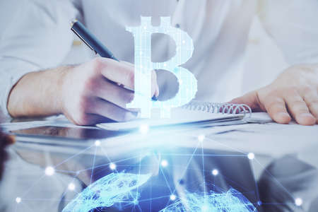 Photo pour Businessman with hands background. Multi exposure with crypto currency concept. - image libre de droit