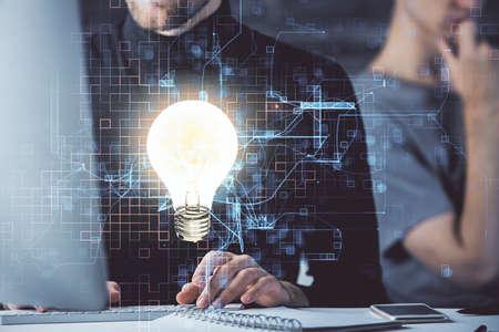Photo pour Growing arrows with businessman working on computer on background. Success concept. Double exposure. - image libre de droit