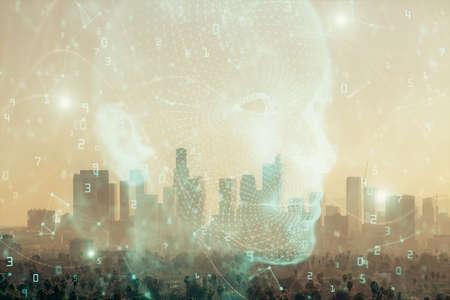Photo pour Brain hologram drawing on cityscape background multi exposure. Ai in modern city concept. - image libre de droit
