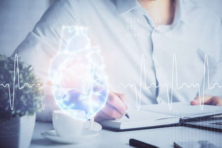 Photo pour Abstract heart on background. Medicine and health concept. Double exposure - image libre de droit