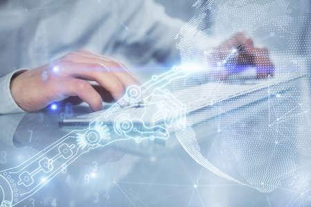 Photo pour Technology theme hologram with man working on computer on background. High tech concept. Multi exposure. - image libre de droit