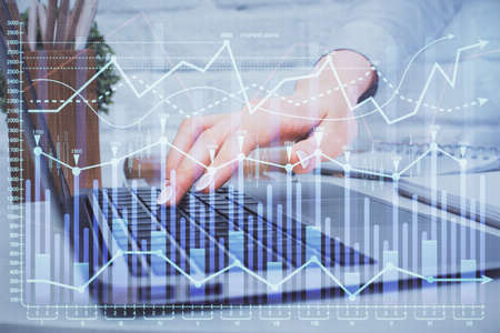 Photo for Multi exposure of woman hands typing on computer and forex chart hologram drawing. Stock market analysis concept. - Royalty Free Image