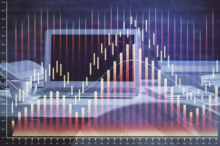 Foto de Financial chart drawing and table with computer on background. Multi exposure. Concept of international markets. - Imagen libre de derechos