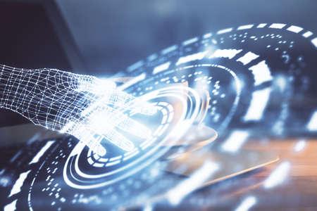 Photo pour Double exposure of desktop computer and technology theme hologram. Concept of software development. - image libre de droit