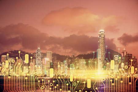 Foto de Data theme hologram drawing on city view with skyscrapers background double exposure. Ai concept. - Imagen libre de derechos