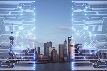 Photo pour Double exposure of technology theme hologram and cityscape background. Concept of Hightech. - image libre de droit