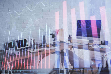 Photo pour Multi exposure of stock market chart drawing and office interior background. Concept of financial analysis. - image libre de droit