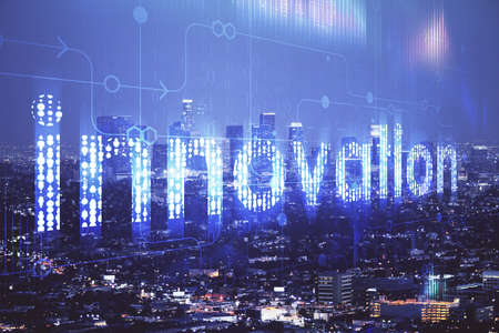 Photo for Data theme hologram drawing on city view with skyscrapers background double exposure. Ai concept. - Royalty Free Image
