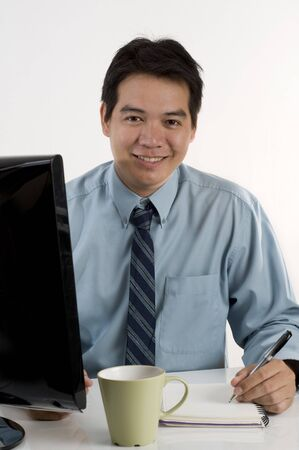 Asian businessman working with computer