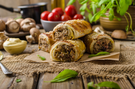 Sausage Roll delicious recepy from mushrooms, czech hogkilling sausage and puff pastry