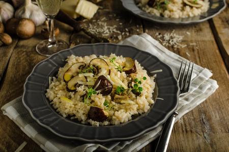 Photo pour Original italian risotto with mushrooms and parmesan cheese - image libre de droit