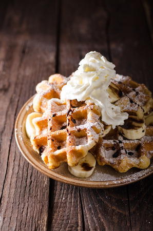 Photo pour Sugar waffles product photo, food photography, food stock, place for advertisment - image libre de droit