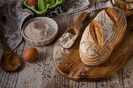 Photo pour Delicious homemade caraway bread, homemade sourdough bread - image libre de droit