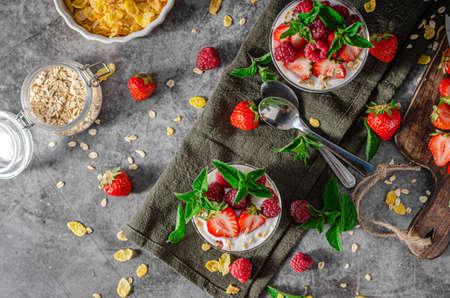 Photo for Delicious granola with strawberries and raspberries, bio homemade yogurt - Royalty Free Image