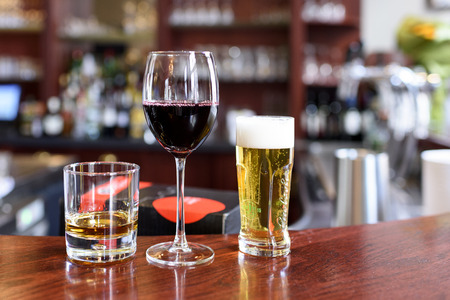 Photo for Alcohol drinks on a bar in a restaurant - Royalty Free Image