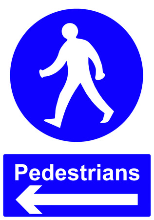 Pedestrians stay to the left sign