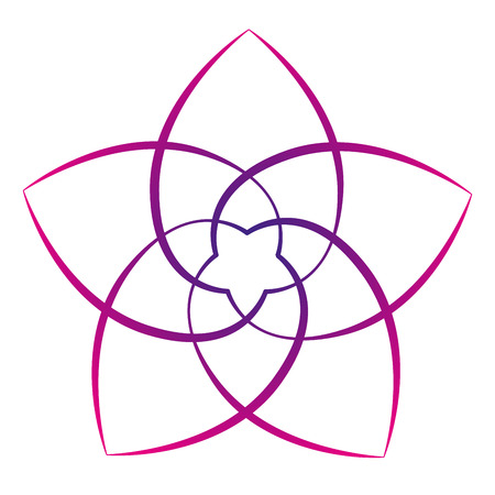 Pink flower of the venus, symbol of love and harmony. Isolated vector illustration on white background.