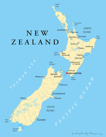 New Zealand Political Map with capital Wellington, national ...