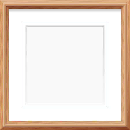 Wooden frame with square mat and french lines. Vector illustration.