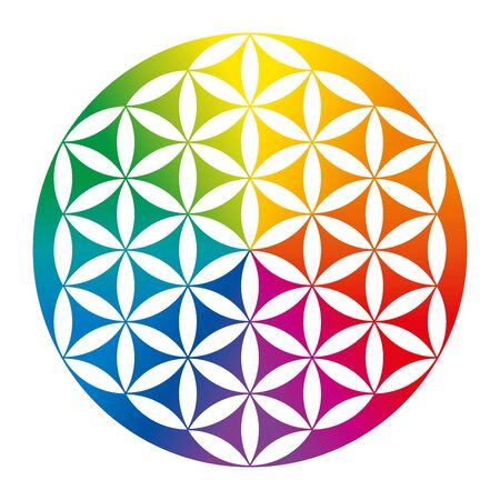 Illustration for Rainbow colored inverted Flower of Life. Geometrical figure, spiritual symbol and Sacred Geometry. Overlapping circles forming a flower like pattern with symmetrical structure. Illustration. Vector. - Royalty Free Image