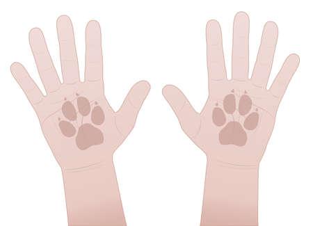 Illustration pour Slap hands, dog. Give me five symbol with human hands and dogs paw prints. Vector comic illustration on white background. - image libre de droit