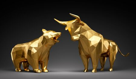 Photo pour Golden bull and bear in front of dark background - image libre de droit