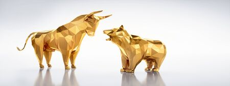 Golden bull and bear low poly style