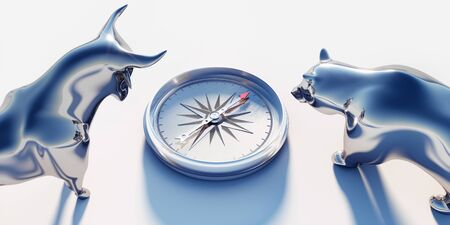 Photo pour Silver bull and bear looking on compass - image libre de droit