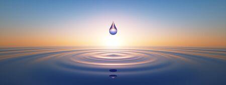 Photo pour Water drops in the wide ocean - image libre de droit