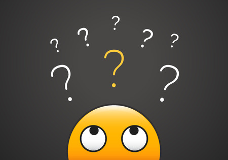 Illustration pour Cute emoji looking up to stack of question marks. Vector illustration for learning, curiosity, doubt, questioning concepts - image libre de droit