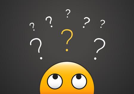 Ilustración de Cute emoji looking up to stack of question marks. Vector illustration for learning, curiosity, doubt, questioning concepts - Imagen libre de derechos