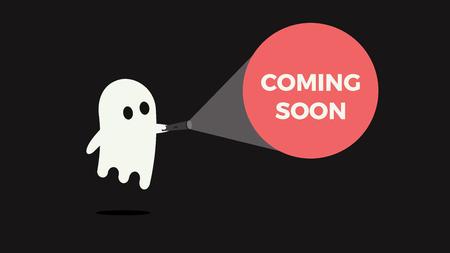 Ilustración de Cute ghost with his flashlight pointing towards a message for new product or movie coming soon vector illustration concept - Imagen libre de derechos