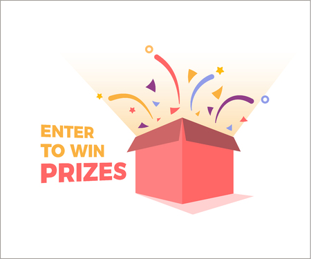 Illustration pour Prize box opening and exploding with fireworks and confetti. Enter to win prizes design. Vector illustration - image libre de droit