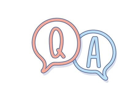 Illustration pour Hand draw Question and Answer on a chat bubble. Q&A icon design - image libre de droit