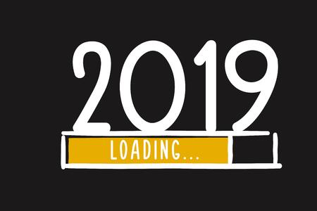 Vektor für Doodle new year download screen. Progress bar almost reaching new year's eve. Vector illustration with 2019 loading - Lizenzfreies Bild