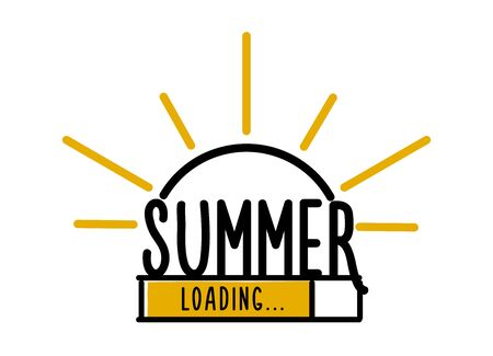 Vektor für Doodle Summer Loading illustration screen. Progress bar almost reaching summer. Vector illustration background banner in doodle style - Lizenzfreies Bild