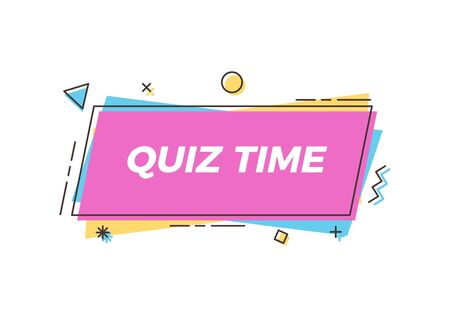 Illustration for Quiz time text on trendy geometric element. Vector abstract design for quiz question games, questionnaires, education, pub and bar events, online games, social media, business and marketing events - Royalty Free Image