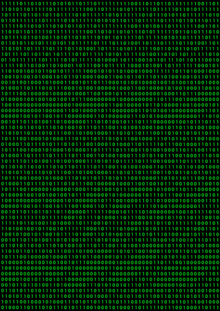 Black background with green binary code