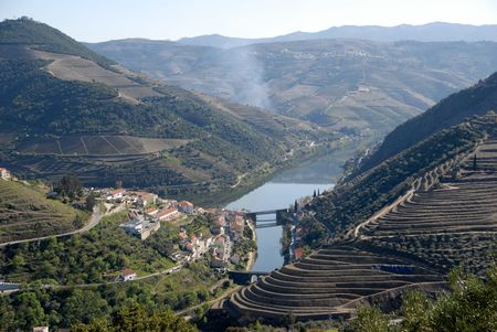 Douro Valley - mail Vineyard region in Portugal.Town Pinhao. Portugal's port wine vineyards.Point of interest in Portugal.