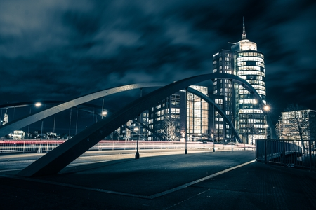 One Night in Hamburg. City of Hamburg Bridge. Germany, Europe. Dark Blue Color Grading.