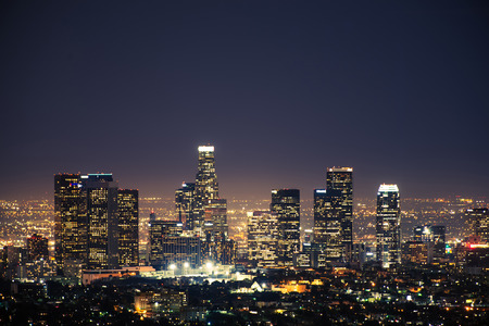 Downtown Los Angeles USA at Night. Los Angeles Panorama. California, United States.