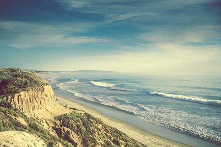 Encinitas California Ocean Shore, United States. Sandstone Cliff and the Sandy Beach