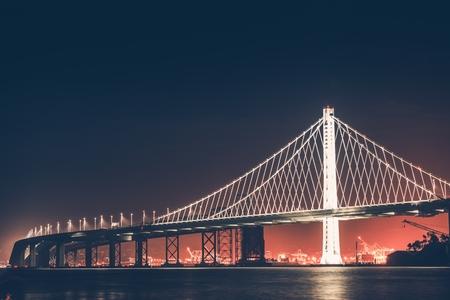 Oakland Bay Bridge at Night. San Francisco - Oakland, California, United States.